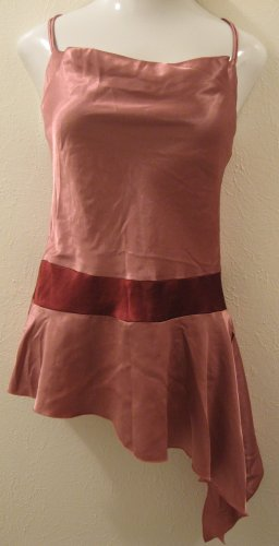 Trendy Long Pink Silky Scoop Neck Spaghetti Strap Top - Charlotte Russe (Large)