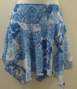 Dressy Sheer Baby Blue & White Floral Print Layered Skirt - A. Byer (Size 13, Large)