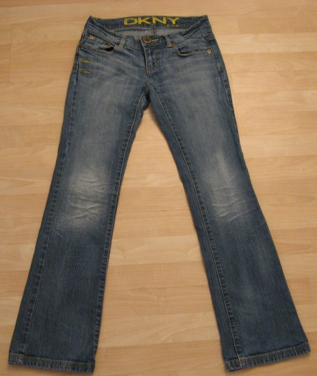 Light Vintage Wash Fade Denim Flare Jeans with Creases - DKNY (Size 1, Extra Small)