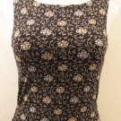 Trendy Black Floral Print Career Tank Top - The Limited Stretch (Extra Small)