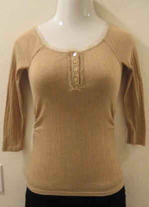 Tan Long Sleeve Top with Fringed Lining and Button Accents - Guess Jeans (Medium)