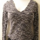 Dark Gray Sheer Layered V-Neck Long Sleeve Career Top - Arden (Small)