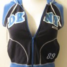 Blue Hooded Sleeveless Zip Up Top with DKNY Logo on Front - DKNY (Medium)