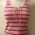 Pink, White & Black Striped Tank Top with Tie V-Neck - SO...GSJC (Large)