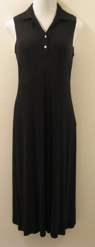 Black & White Sleeveless Polka Dot Dress - Ronni Nicole Petite (Size 10 Petite, Medium)