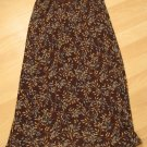 Brown Layered Skirt with Blue & Tan Leaf Pattern - Charlotte Russe (Small)