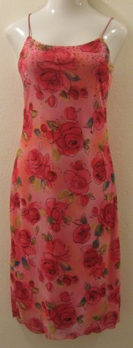 Pink Rose Print Layered Spaghetti Strap Dress with Glitter Accents - I.N. San Francisco (Large)