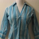 Blue & White Striped Long Sleeve Button Down Career Top - The Limited Stretch (Small)