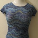 Trendy Blue, Purple & Green Striped Wave Print Short Sleeve Top - A. Byer (Small)
