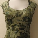 Trendy Green Short Sleeve Top with Chinese Print - Charlotte Russe (Large)