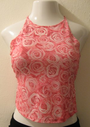 Sexy Hot Pink & White Rose Print Club Top with Open Back - Eye Candy (Small)