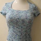 Trendy Aqua Blue Sheer Short Sleeve Top - As Is (Small)