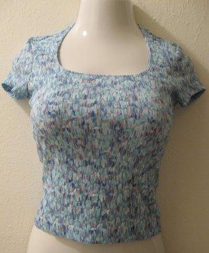 Trendy Aqua Blue Sheer Short Sleeve Top - As Is (Small)