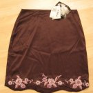 Brown Silk Career Skirt with Pink Embroidered Flowers - Betsey Johnson (Size 8, Medium) Brand New
