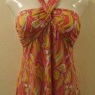 Pink, White & Yellow Swirl Print Halter Summer Top - Kiwi (Large)