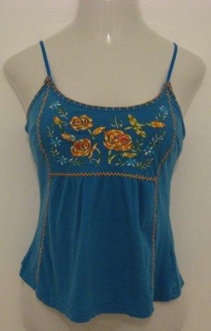 Blue & Orange Floral Embroidered Print Spaghetti Strap Top - Arizona (Medium)
