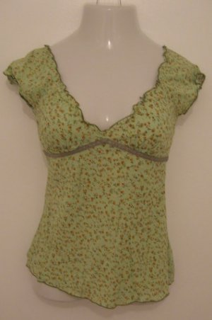 Trendy Green Floral Print Off Shoulder Top with Tie Accent - Fang (Small)