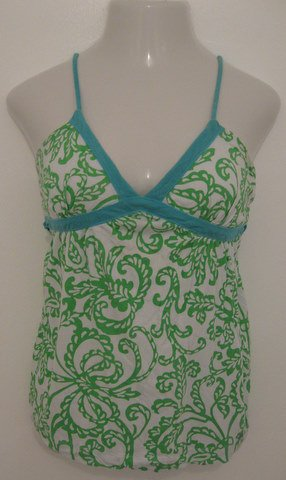 Trendy Green & White Floral Print Tank Top with Blue Straps & Tie - Aeropostale (Medium)