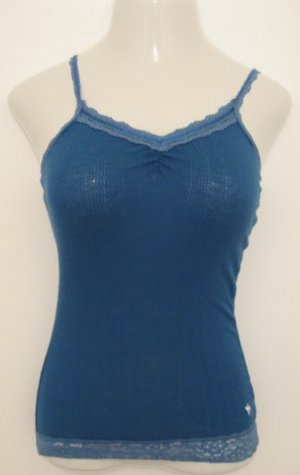 Dark Blue Spaghetti Strap Top with Light Blue Lace Trim - Abercrombie (Extra Large)