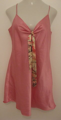 Sexy Baby Pink Spaghetti Strap Silky Nighty with Tie Accent at Bust  - Extra Large