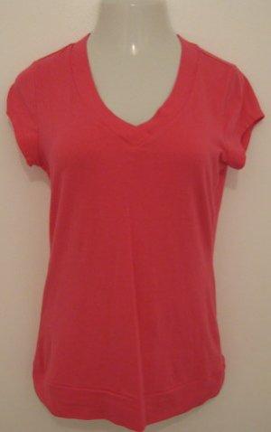 Hot Pink Short Sleeve V-Neck Top - SO (Extra Large)