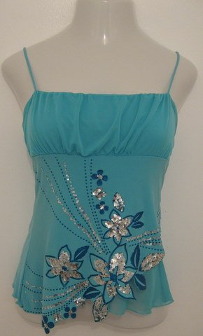 Sexy Aqua Blue Spaghetti Strap Club Top with Silver Sequence Floral Accents - Imagine (Large) NWOT