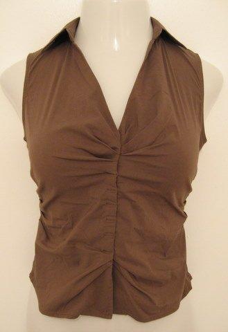 Light Brown Collared V-Neck Sleeveless Career Top  - Express Design Studio (Extra Small)