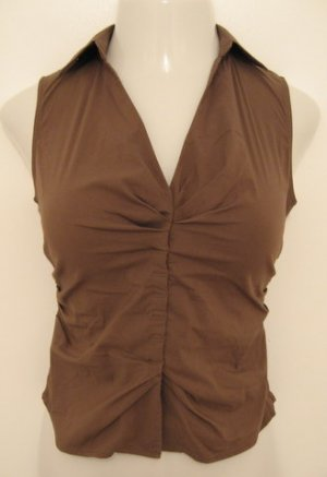 Light Brown Collared V-Neck Sleeveless Career Top  - Express Design Studio (Extra Small)