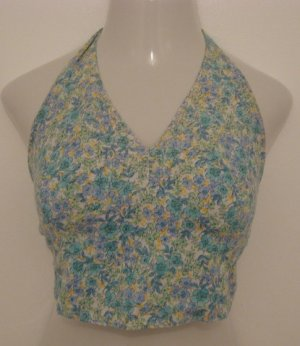 Trendy Blue, White & Yellow Floral Halter Top Belly Shirt - American Eagle Outfitters (Medium)