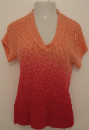Multi Colored Pink Short Sleeve V-Neck Sheer Sweater Like Career Coverup - Diamonds (Small)