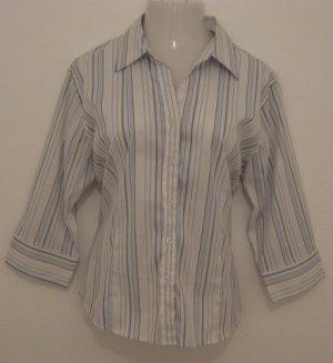 Trendy Light Blue, Silver & White Striped Button Down Silky Half Sleeve Career Top - Fluid (XXL)