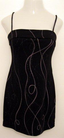 Black Spaghetti Strap Cocktail Dress with Light Gray & Silver Swirl Print - All that Jazz (Medium)