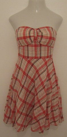 Trendy Pink, Gray & White Plaid Strapless Layered Dress - Signature by Sangria (Small)