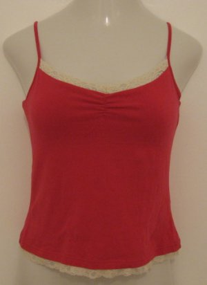 Dark Pink & White Spaghetti Strap Top with Lace Lining & Built in Bra - Faded Glory (Large 12/14)