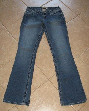 Trendy Dark Blue Wash Denim 5 Pocket Flare Jeans with Crease Details - Y.M.I (Size 3)
