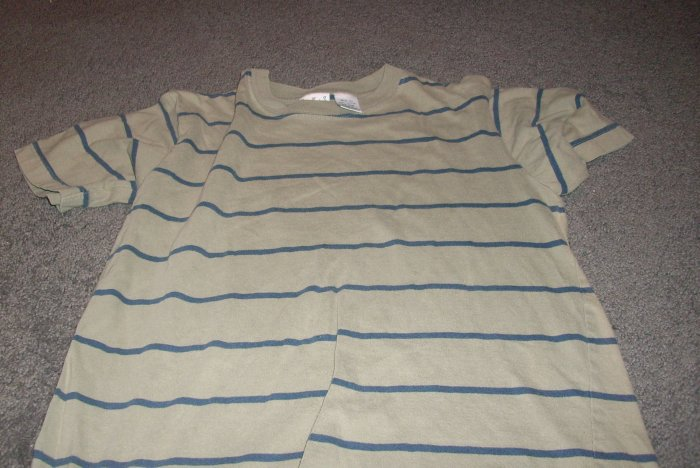 Boy's 10/12 Green Tee-Shirt with Blue Strips