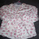 24M Girl's George Shirt  White with Pink Roses