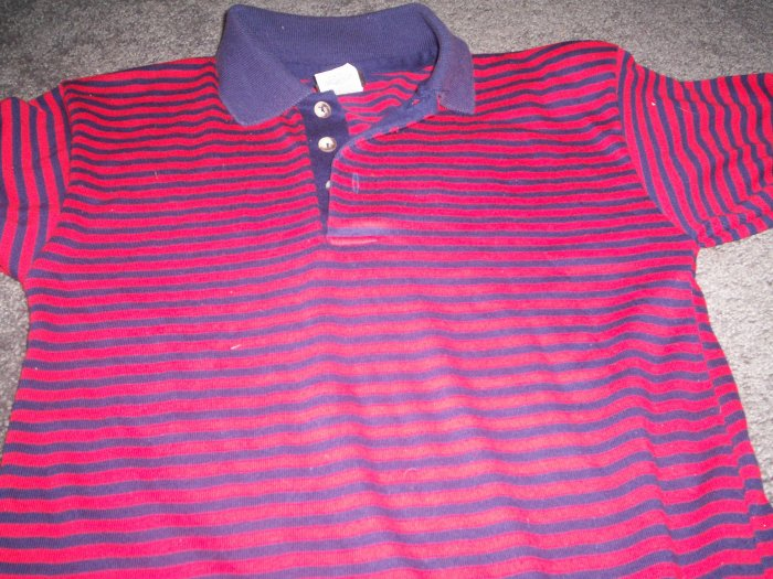 Blue and Red Striped Boy's Polo style Shirt  size 10/12