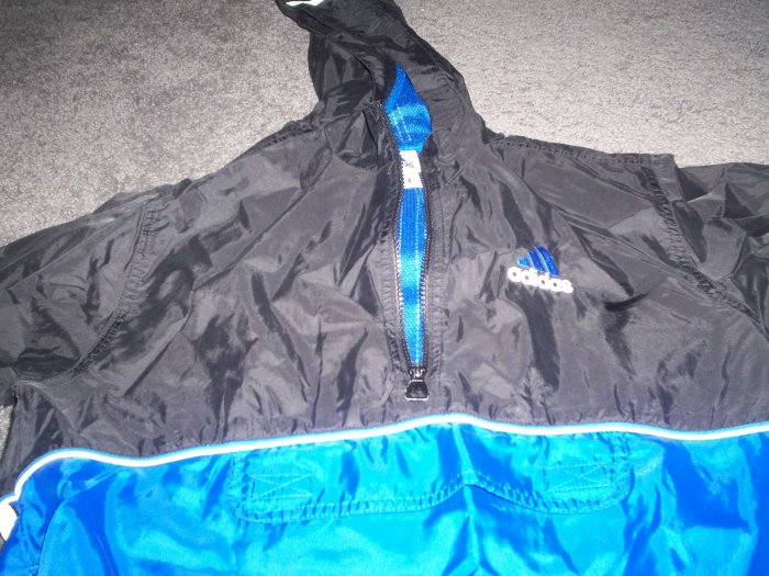 Adidas Nylon Hooded Pullover Jacket with Zipper Front and Size Large
