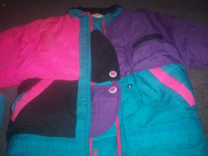 Girls Size 4 Green Purple and Pink Winter Coat