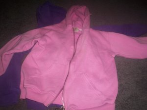 Two Girls's Purple and Pink Hooded Zippered Sweat Shirt size 4T by Carter's