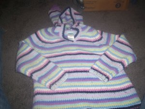 Girl's Multi-Colored Vee Neck Hooded Sweater by Old Navy size 4T