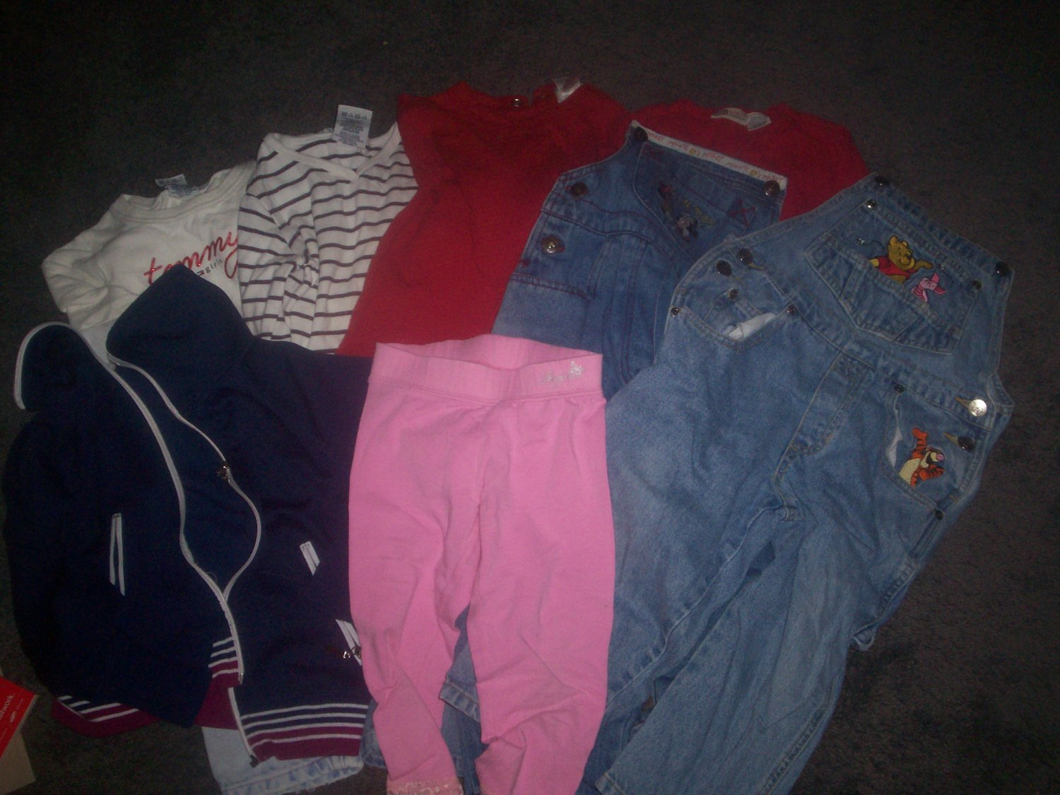 Girl's Size 4T Lot 2 Coveralls 2 Jeans 4 Shirts 1 pair of Pants and 1 Jacket