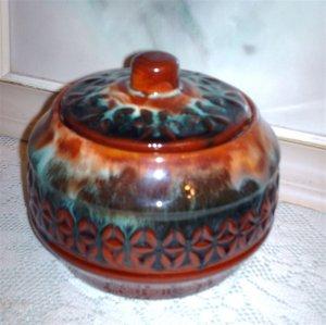 Canadian Ceramic Craft CCC Flame Glaze Covered Dish