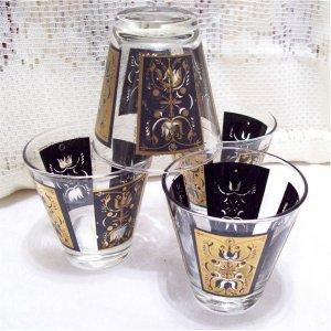 Vintage Black n Gold Hi Ball Drink Bar Glasses Set of 4