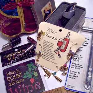 Wine Lot Trudeau Dripless Pourer Stopper, Charms, Cork Screw and Cork Retreiver