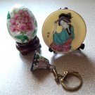Oriental Egg with stand, Cloisonne Bell Keychain, and Lustre Plate