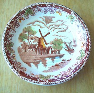 Two Brown Multicolor Windmill Scenes Japan China Coupe Bowls