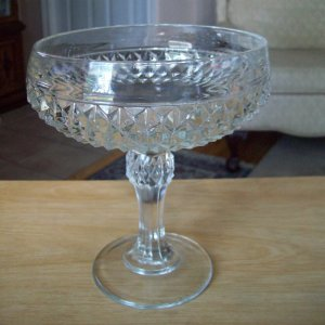 Pedestal 1960s Diamond Point 7 inch Glass Compote