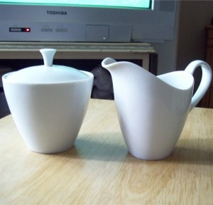 Mikasa China Sophisticate White Covered Sugar Bowl and Creamer